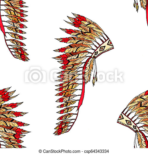 Feather hat color seamless pattern - csp64343334