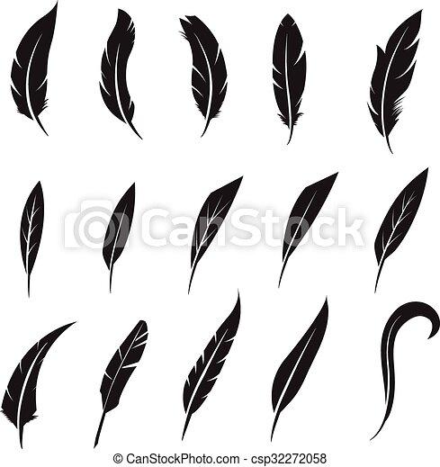 Feather icon. Feather writing tool icon. Concept flat style design illustration icon - csp32272058