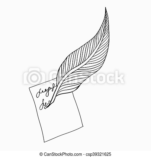Feather icon. Feather writing tool icon. Vector illustration. - csp39321625