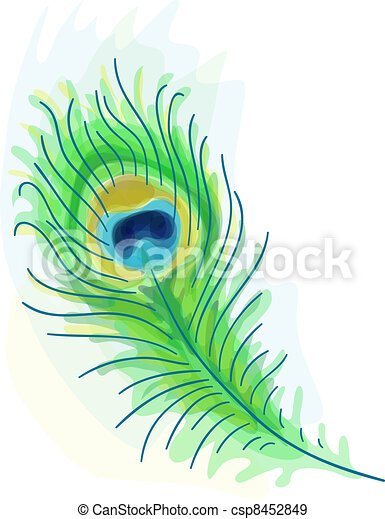 Feather of a peacock. Watercolor style.  - csp8452849