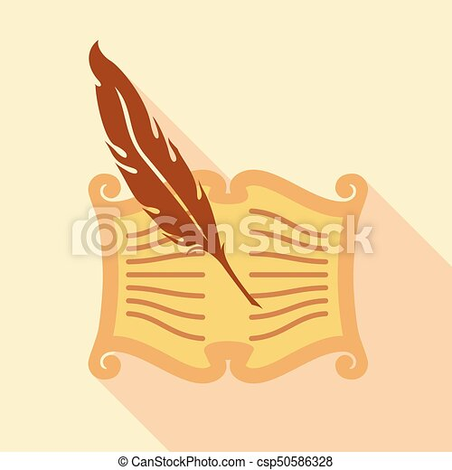 Feather writing icon, flat style - csp50586328