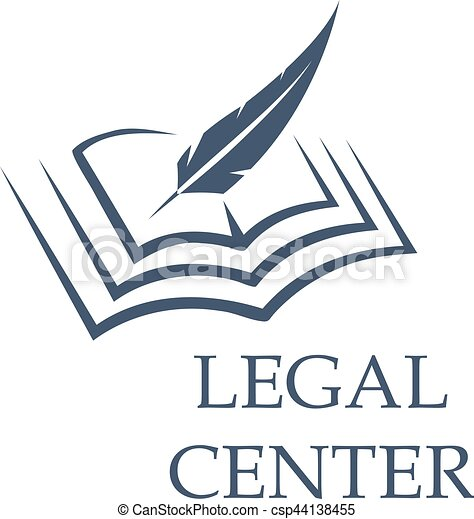 Feather writing on book as legal center sign - csp44138455