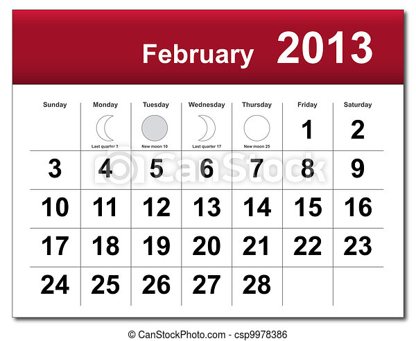 February 2013 calendar - csp9978386