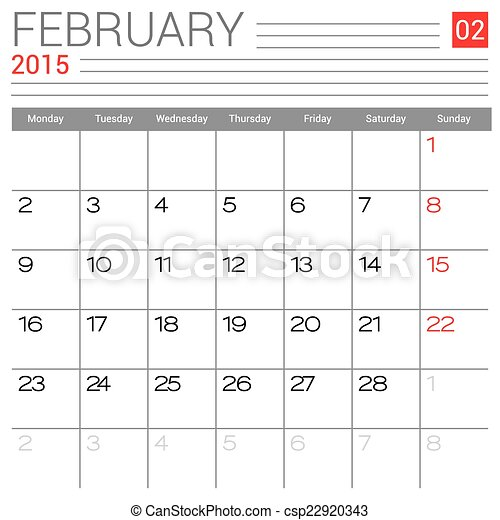 February 2015 Calendar Vector Design Template Simple Blank Calendar