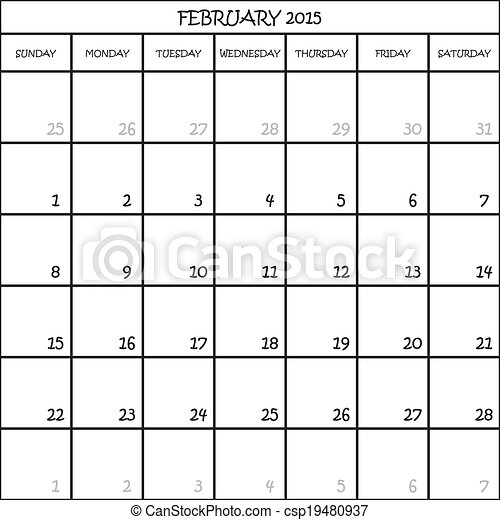 FEBRUARY 2015 CALENDAR PLANNER MONTH ON TRANSPARENT BACKGROUND - csp19480937