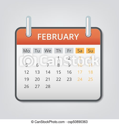 february 2018 calendar concept background cartoon style csp50890363