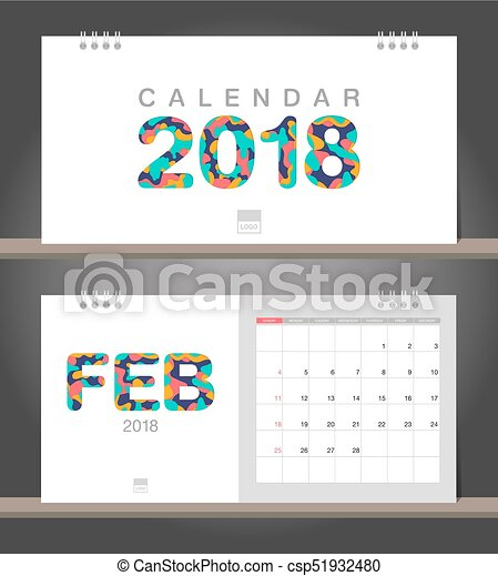 February 2018 Calendar Desk Calendar Modern Design Template With