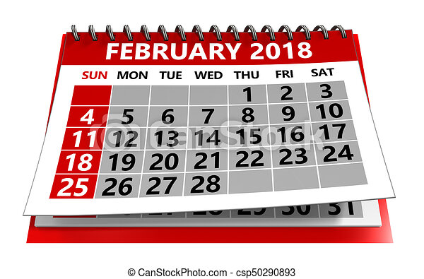 3d illustration of february 2018 calendar isolated over... stock ...