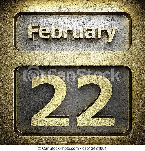 february 22 golden sign - csp13424881