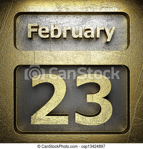 february 23 golden sign - csp13424897