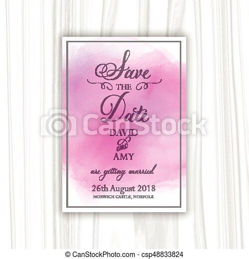 Watercolour guarda el diseño de las invitaciones - csp48833824