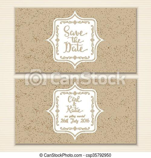 Vintage ahorra la invitación para la cita - csp35792950