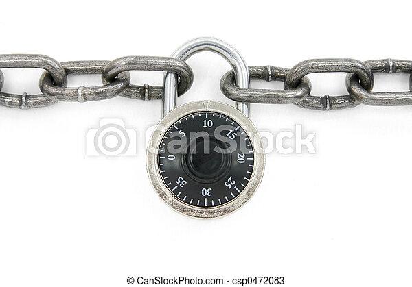 fechadura, corrente, combinação - csp0472083