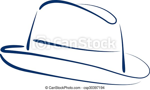 Fedora trilby hat. Sketched man s fedora trilby hat isolated on ...