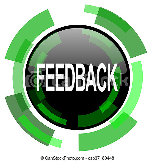 feedback icon, green modern design isolated button, web and mobile app design illustration - csp37180448
