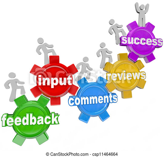 Feedback People Marching Up Gears Input to Success - csp11464664