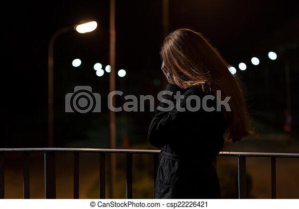 Feeling depression on a bridge - csp22226421