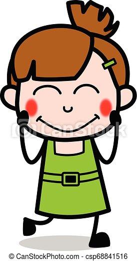 Feeling shy - cute girl cartoon character vector illustration.