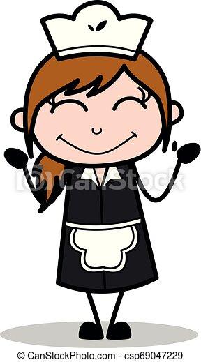 Feeling shy - retro cartoon waitress female chef vector ...