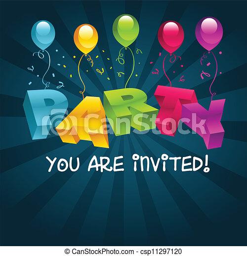 feestje, kleurrijke, kaart, uitnodiging - csp11297120