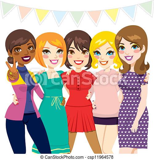 feestje, vrienden, vrouwen - csp11964578