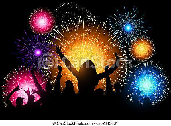 feestje, vuurwerk, nacht - csp2443061