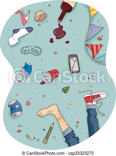 Feet House Floor After Party Mess - csp33323270