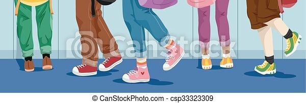 Feet kids school hallw...