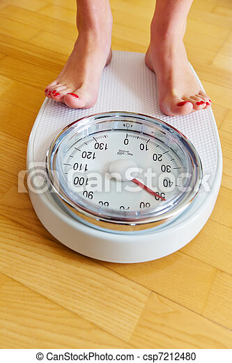 Feet of a woman on bathroom scale - csp7212480