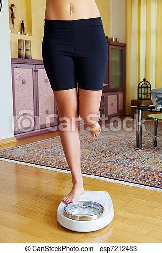 Feet of a woman on bathroom scale - csp7212483