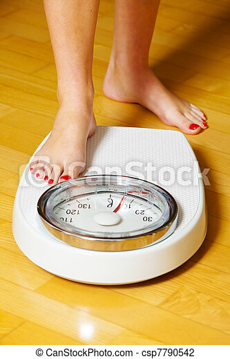 feet of a woman on bathroom scales - csp7790542
