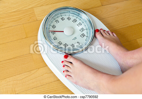 feet of a woman on bathroom scales - csp7790592