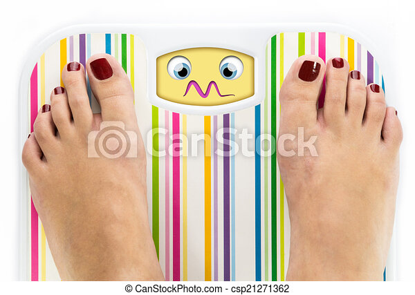 Feet on bathroom scale with overwhelmed cute face on dial - csp21271362