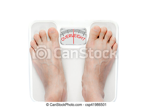 Feet on Mechanical Bathroom Scale Isolated on White - csp41986501