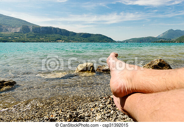 feet on the beach of lake of Annecy - csp31392015