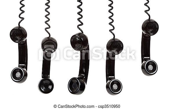 fehér, black telefon, háttér, telefonkagyló - csp3510950