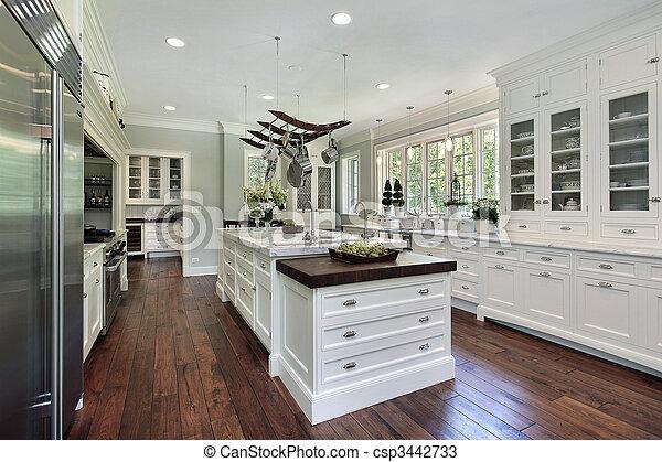 fehér, cabinetry, konyha - csp3442733