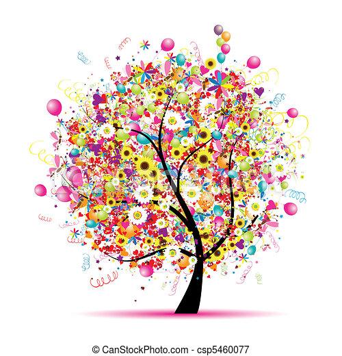 feiertag, lustiges, glücklich, baum, luftballone - csp5460077