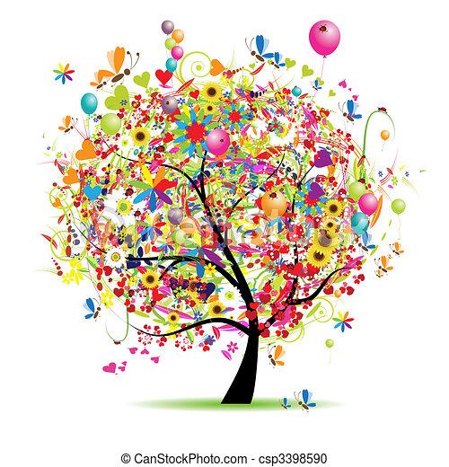 feiertag, lustiges, glücklich, baum, luftballone - csp3398590
