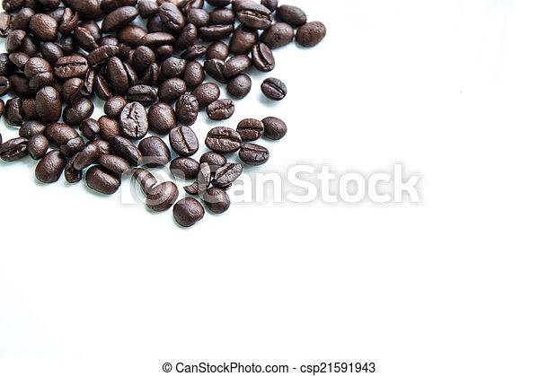 feijões café, fundo, branca - csp21591943