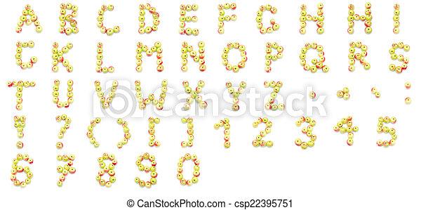 feito, alfabeto, pontuação, gre, números, sinais, fresco, saída - csp22395751