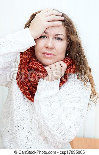 fej, nő, neki, mögött, betegség, hatalom kezezés, gyapjú, sál, fejfájás - csp17035005