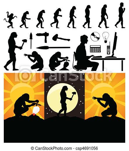 fejlődés, vektor, person., majom, ábra - csp4691056