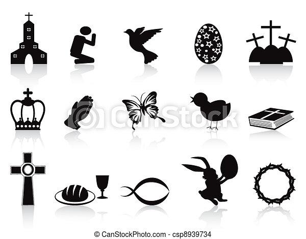fekete, állhatatos, húsvét, ikonok - csp8939734
