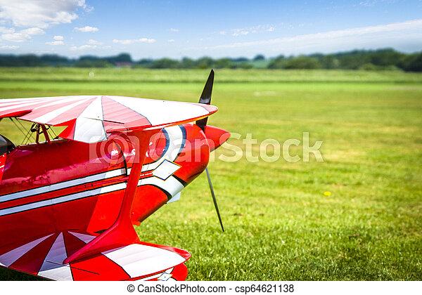 feld, grün, retro, bereit, motorflugzeug, nehmen - csp64621138