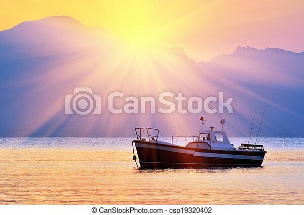 felett, napkelte, öböl - csp19320402