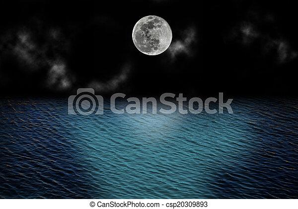 felett, tele, elhomályosul, hold, óceán - csp20309893