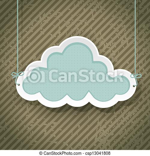 felhő, grunge, retro, háttér, aláír - csp13041808