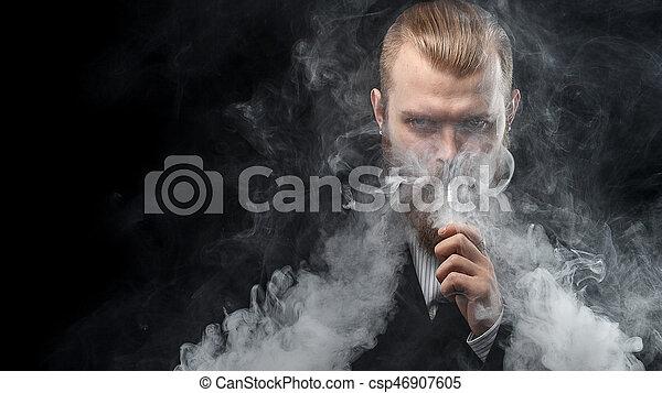 felhő, háttér., vapor., műterem, shooting., birtok, vaping, fekete, mod., ember - csp46907605