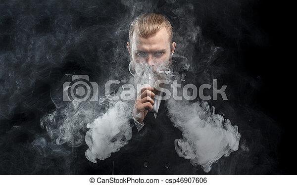 felhő, háttér., vapor., műterem, shooting., birtok, vaping, fekete, mod., ember - csp46907606